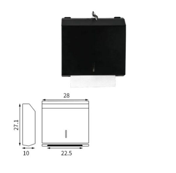 Dispenser servetele hartie negru metalic antivandalism 300buc