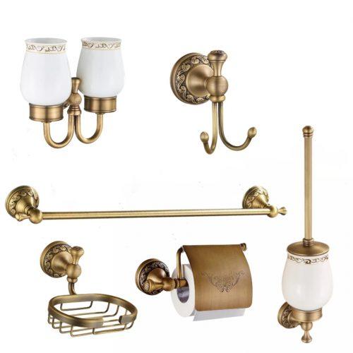 Set accesorii baie PRATO antichizat retro pahar ceramica 6 piese