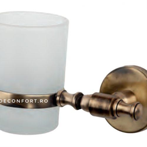 Pahar baie bronz antichizat cu sticla mata