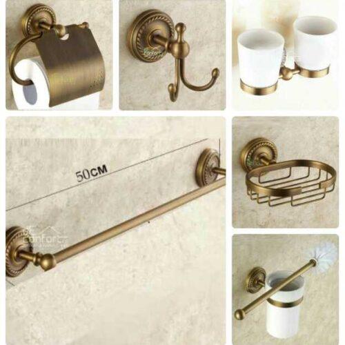 Accesorii baie bronz antichizat retro Verona – set 6 piese