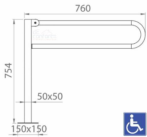 Bara sprijin persoane dizabilitati rabatabila prindere podea