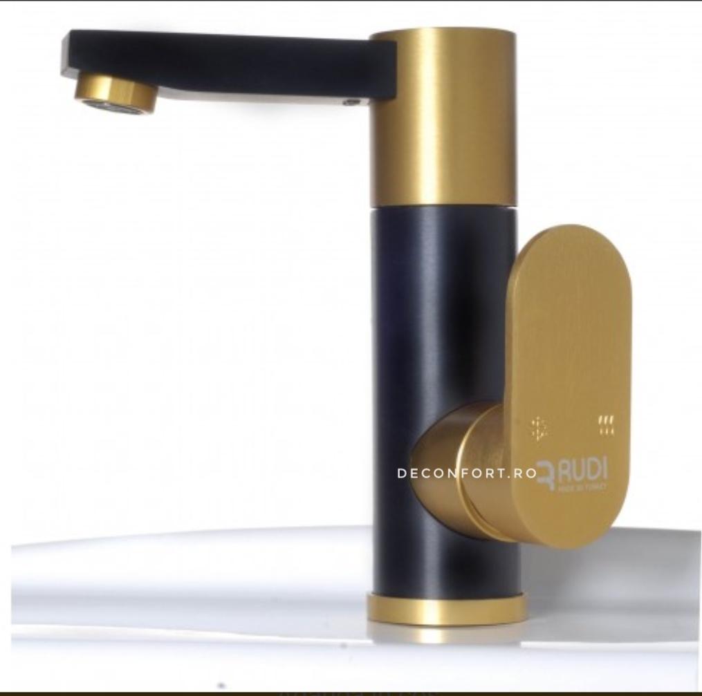 Baterie aluminiu montare chiuveta baie RUDI negru auriu mat, pipa rotativa