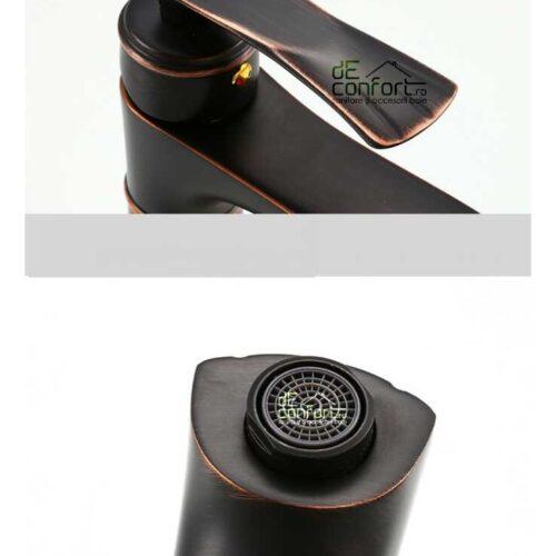 Baterie antichizata inalta montare blat langa lavoar KUNE Dark culoare neagra