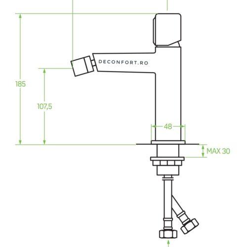 Baterie bideu grafit periat PRETTO aspect contemporan ventil inclus