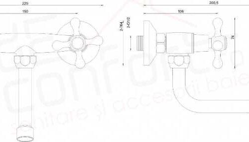 Baterie bucatarie doua robinete Stilo – montare perete