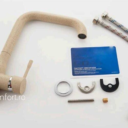 Baterie bucatarie granit bej FRAPO pipa inox rotativa 90° chiuveta