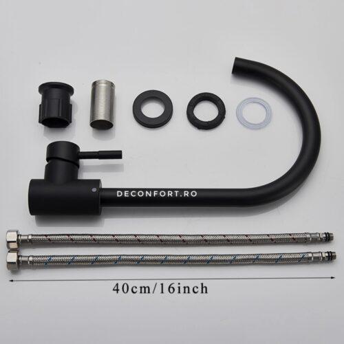 Baterie bucatarie inox negru mat Starke pipa lebada, montare chiuveta