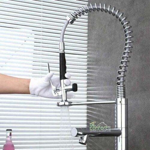 Baterie bucatarie profesionala Atis cu jeturi de apa independente si pipa flexibila