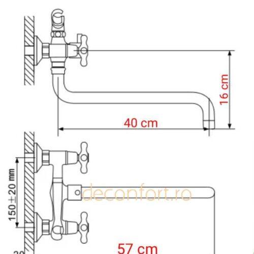 Baterie cada antichizata ACONNA pipa lunga bronz set dus inclus