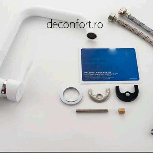Baterie chiuveta bucatarie alba FRAPO pipa inox rotativa 90° cartus ceramic