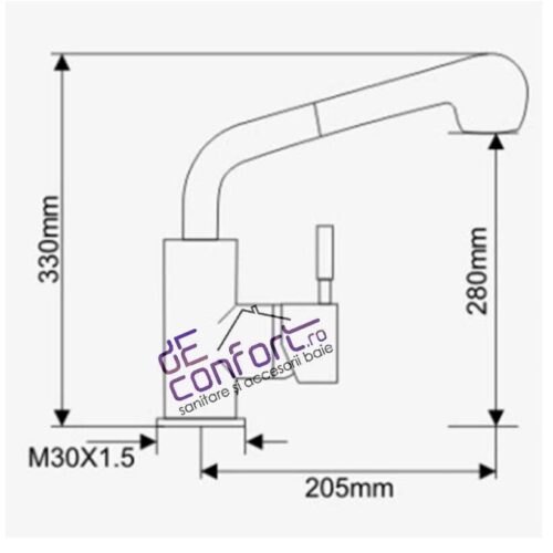 Baterie chiuveta bucatarie inox dus extractabil doua functii STARKE