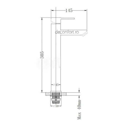 Baterie inalta inox STEEL montare blat  ventil evacuare inclus