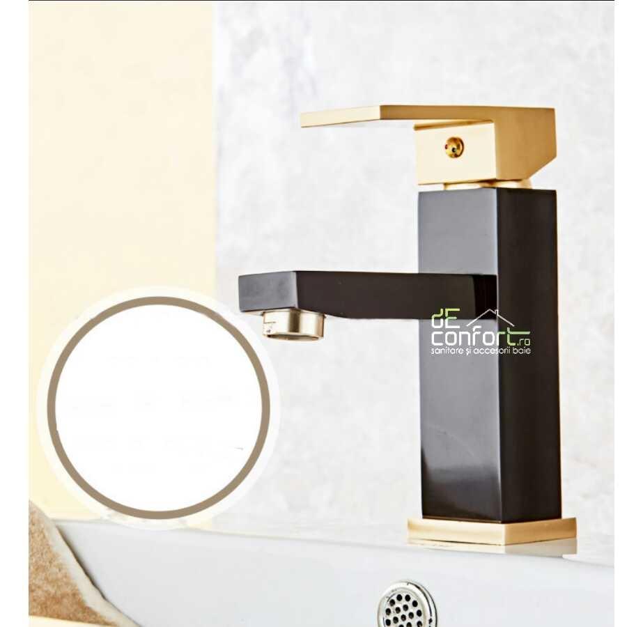 Baterie lavoar baie culoare neagra detalii aurii BANFF montare pe chiuveta