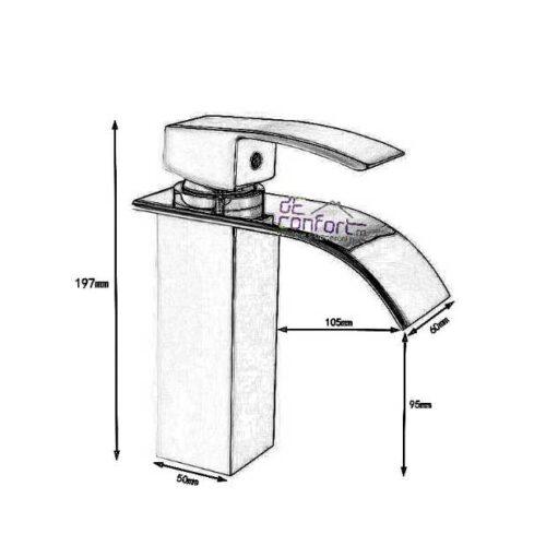 Baterie lavoar baie retro pipa fixa rectangulara  Slim Dark