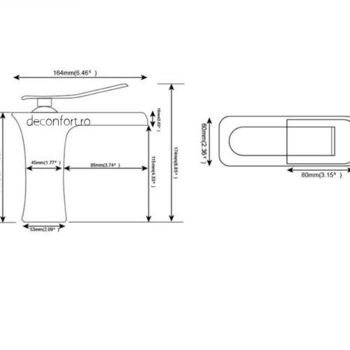 Baterie lavoar cascada Tallin aspect cromat lucios montare chiuveta
