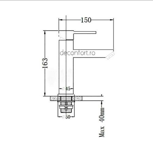 Baterie lavoar inox STEEL aspect mat ventil chiuveta inclus