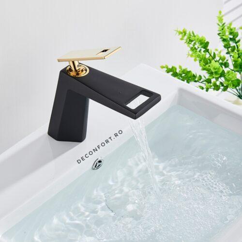 Baterie lavoar negru auriu montare chiuveta baie Prisma cartus ceramic