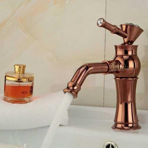 Baterie lavoar Rose Gold Benin cu pipa rotativa apa calda-rece