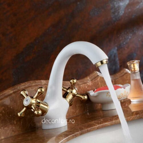 Baterie lavoar Sanitex culoare alba doua robinete aurii pt chiuveta