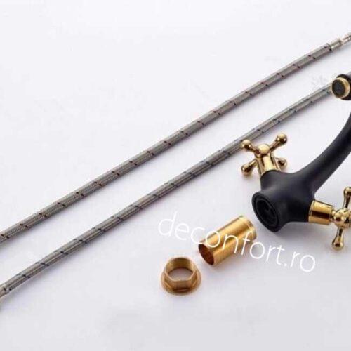 Baterie lavoar Sanitex culoare neagra doua robinete aurii pt chiuveta
