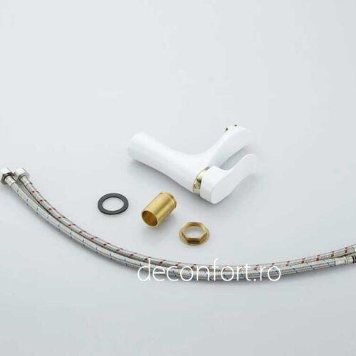 Baterie lavoar Sanitex culore alba elemente aurii montare chiuveta