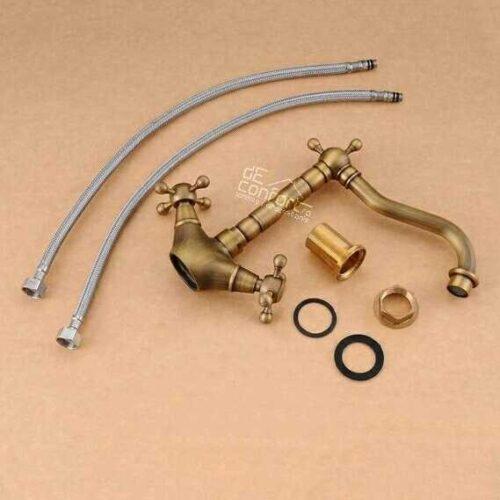 Baterie lebada bronz antichizat montare chiuveta sau blat Yola cu doua robinete