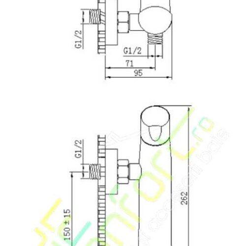 Baterie LYRA montare cabina dus aspect cromat design cilindric-liniar