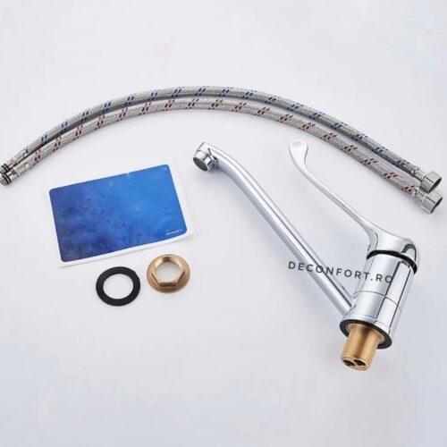 Baterie medicala lavoar actionare cot pipa rotativa medie apa calda rece