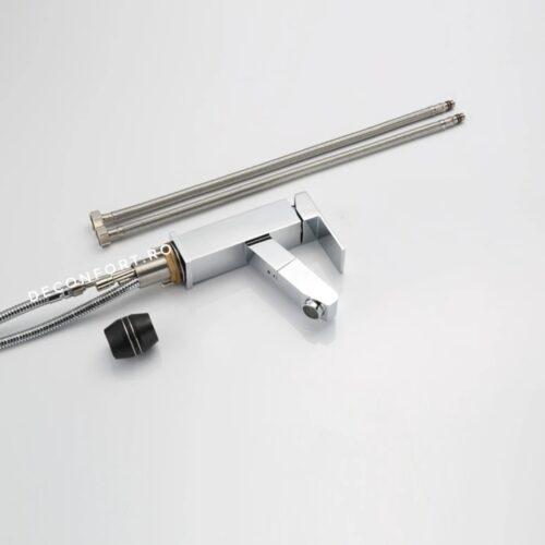 Baterie montare lavoar dus extractabil aspect cromat pipa rectangulara