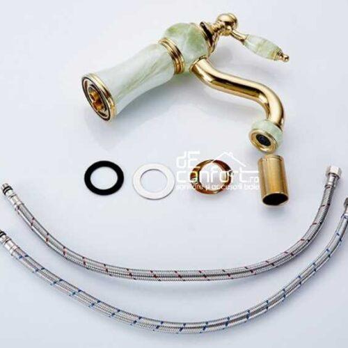 Baterie montare lavoar JADE Gold inaltime medie fixare pe chiuveta baie