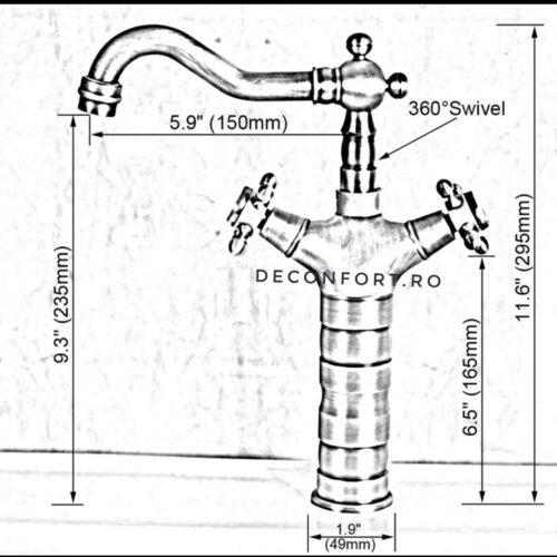 Baterie negru antichizat montare chiuveta sau blat Yola Dark inaltime medie