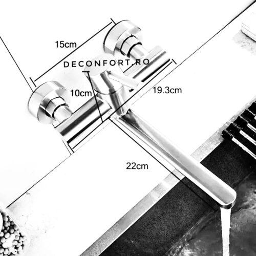 Baterie perete inox cromat lavoar-bucatarie crom periat pipa lunga mobila