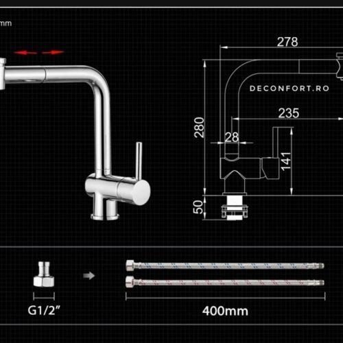Baterie salon cap dus extractabil cu doua functii cromata apa calda-rece