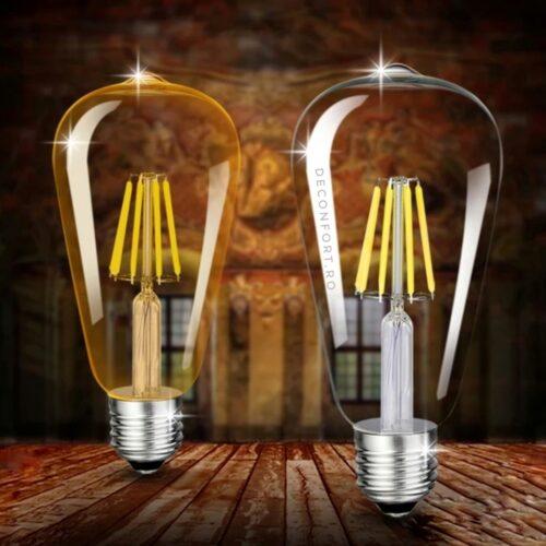 Bec filament incandescent Edison 4w LED dulie e27 lumina calda ST64