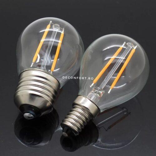Bec LED filament incandescent Edison 2w dulie e27 lumina calda G45
