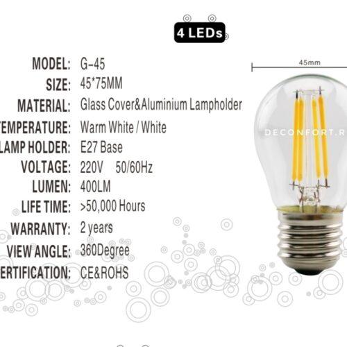 Bec LED filament incandescent Edison 4w dulie e27 lumina calda