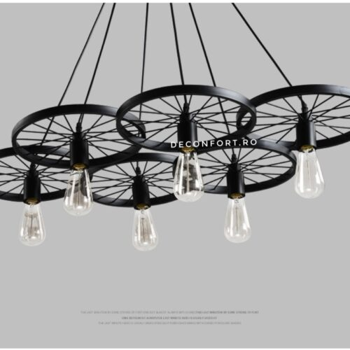 Candelabru led aspect vintage industrial roata 6 brate negru retro LOFT