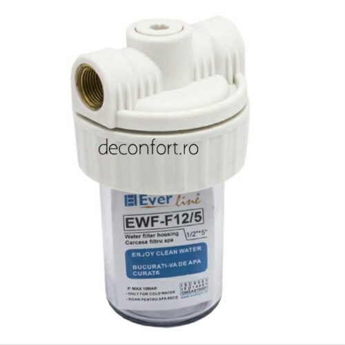 Carcasa filtru apa 5 pahar transparent racord 1/2 pentru cartus sau polifosfat
