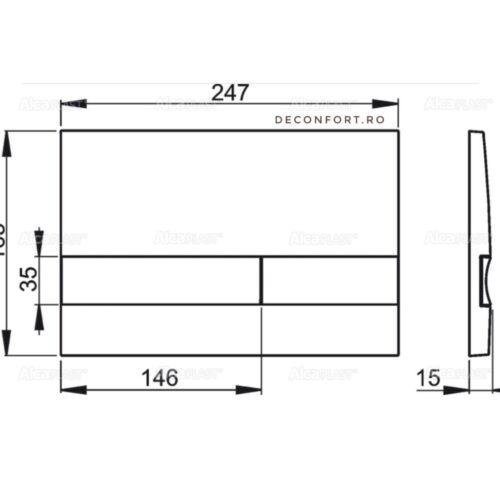 Clapeta actionare rezervor wc cromata 2 trepte actionare Alcaplast