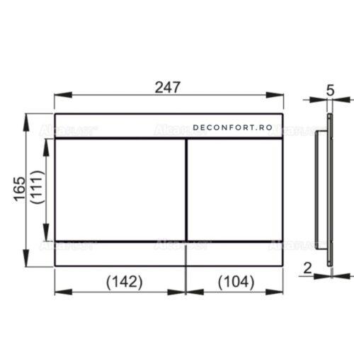 Clapeta rezervor wc incastrabil STRIPE aluminiu mat slim doua trepte