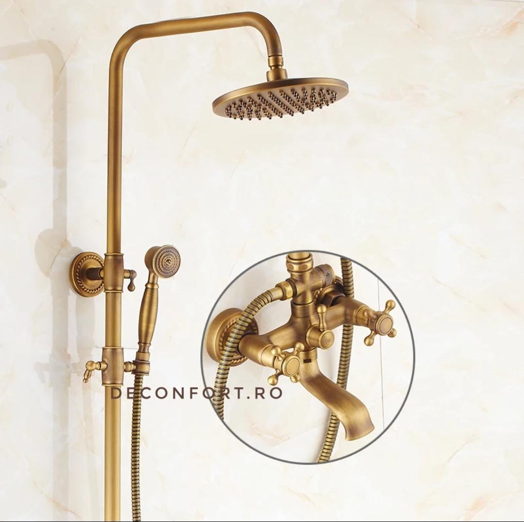 Coloana dus bronz antichizat retro trei functii YOLA Bronze doua robinete