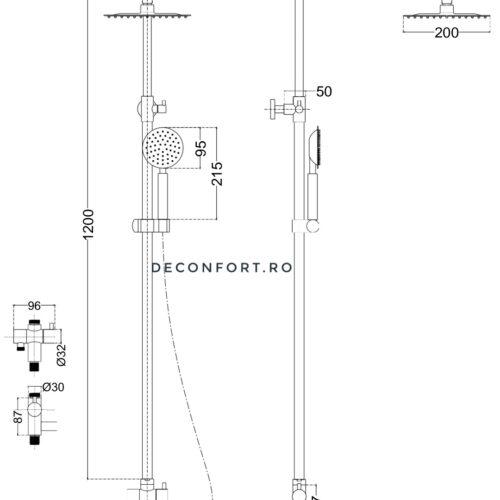 Coloana dus inox satinat 2 functii STEEL montare baterie cada sau cabina dus