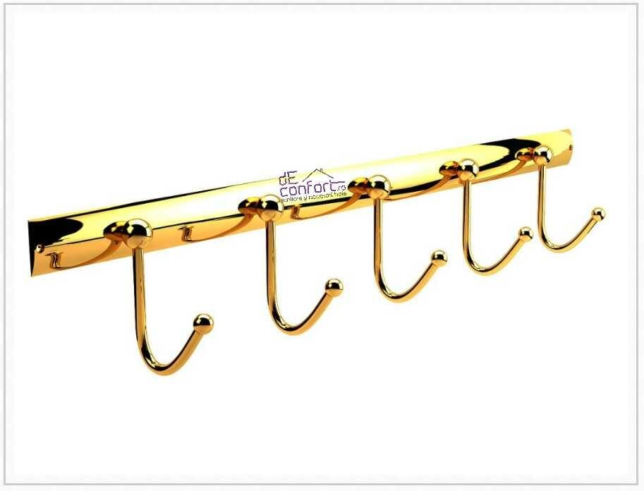 Cuier baie auriu 5 brate fixe prindere perete Defne Gold