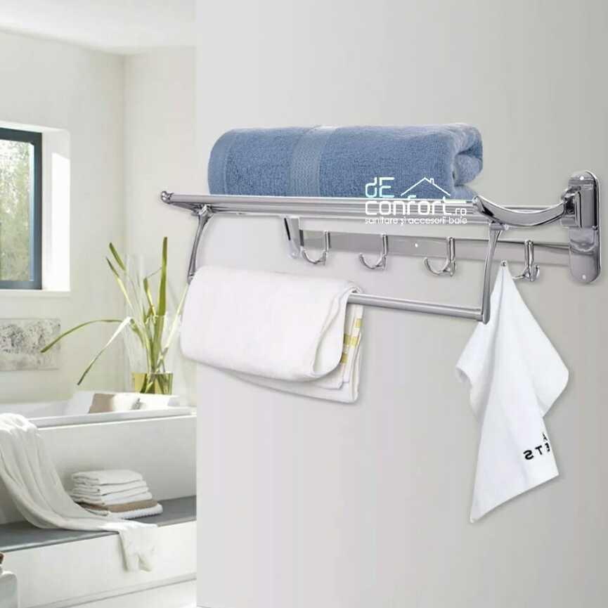 Cuier baie cromat cu polita rabatabila si etajera depozitare prosoape