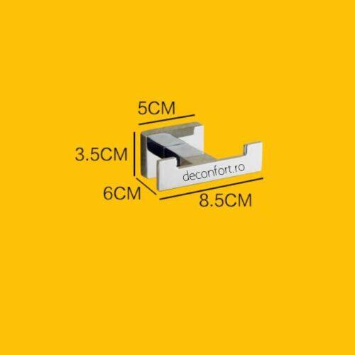 Cuier baie doua brate design liniar  cromat lucios Liner