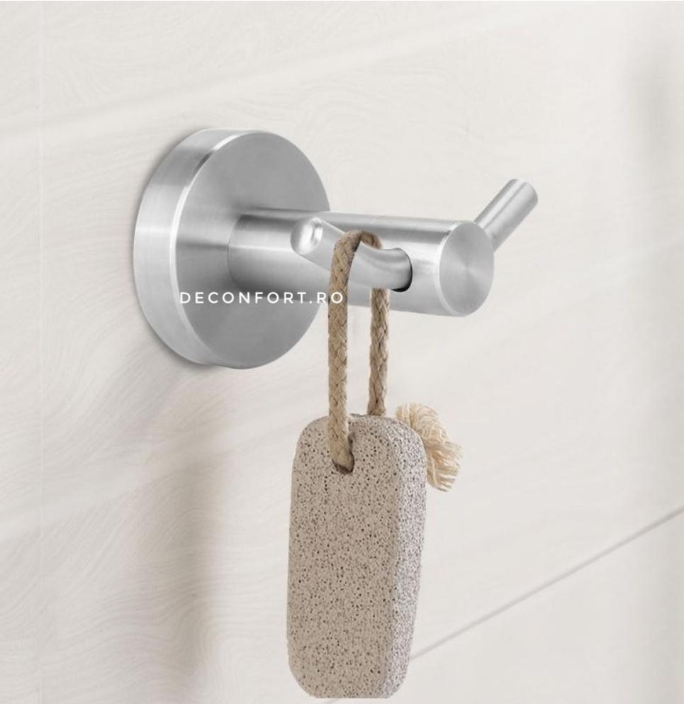 Cuier baie inox satinat cu doua brate STEEL prindere stabila perete