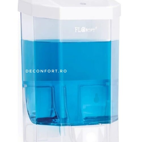 Dispenser detergent dezinfectant maini 500ml FLORA transparent capac alb