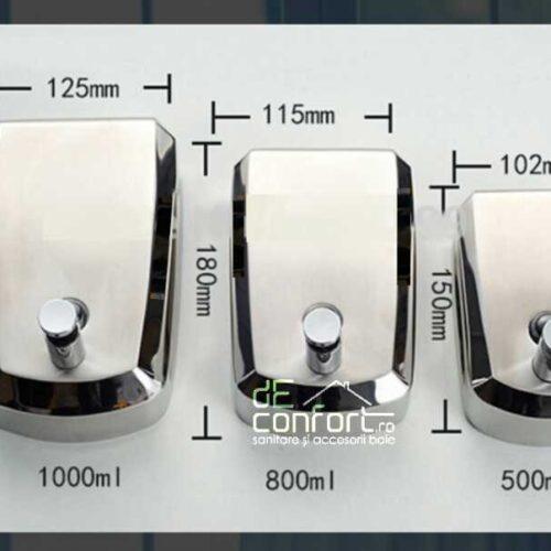 Dispenser detergent lichid 800ml satinat  antivandalism inchidere cheie