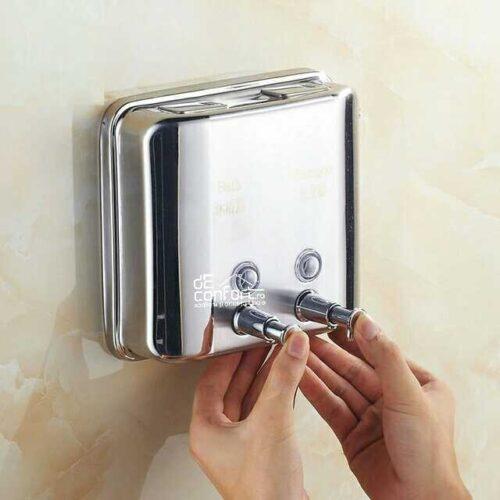 Dispenser detergent lichid dublu 1500ml cromat lucios sampon gel dus