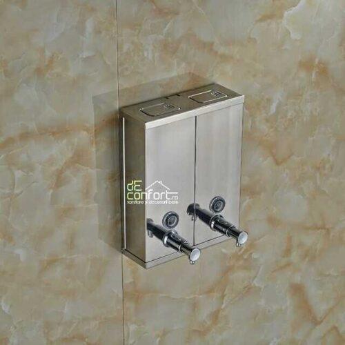 Dispenser detergent lichid dublu 1500ml rectangular cromat lucios sampon gel dus